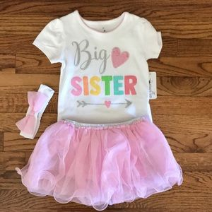 New Big Sister 3T Pink Tutu Outfit